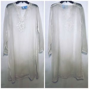 Blue Island Ivory Coverup Top Embroidered Sheer